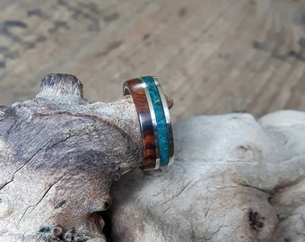 Silver ring with maple Burl and ironwood