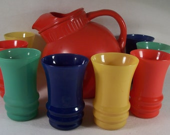 Fire King Rainbow Collection Anchor Hocking Tilt Ball Jug and Juice set     W193
