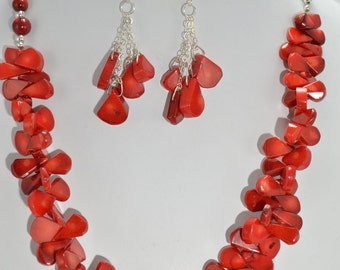 Red Coral and Sterling Silver Set