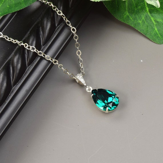 Emerald green necklace swarovski crystal teardrop pendant mozeypictures Images