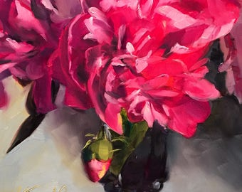 better late than never // peony // peonies // peony painting // peony art // floral painting // floral art // pink flower painting