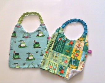 Fun and white Terry elastic bibs duo