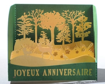 Birthday card 3D Forest - Made in France