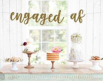 Engaged af banner, Engagement banner, engagement party banner, engagement party decorations, engaged banner, hashtag engaged, #engaged,