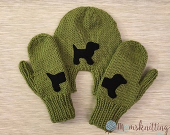 Hand Knit Cute Dog Hand Holding Mitten for Two, Lovers Mitten Winter Knit, Couples Mitten, Warm Knit Mittens