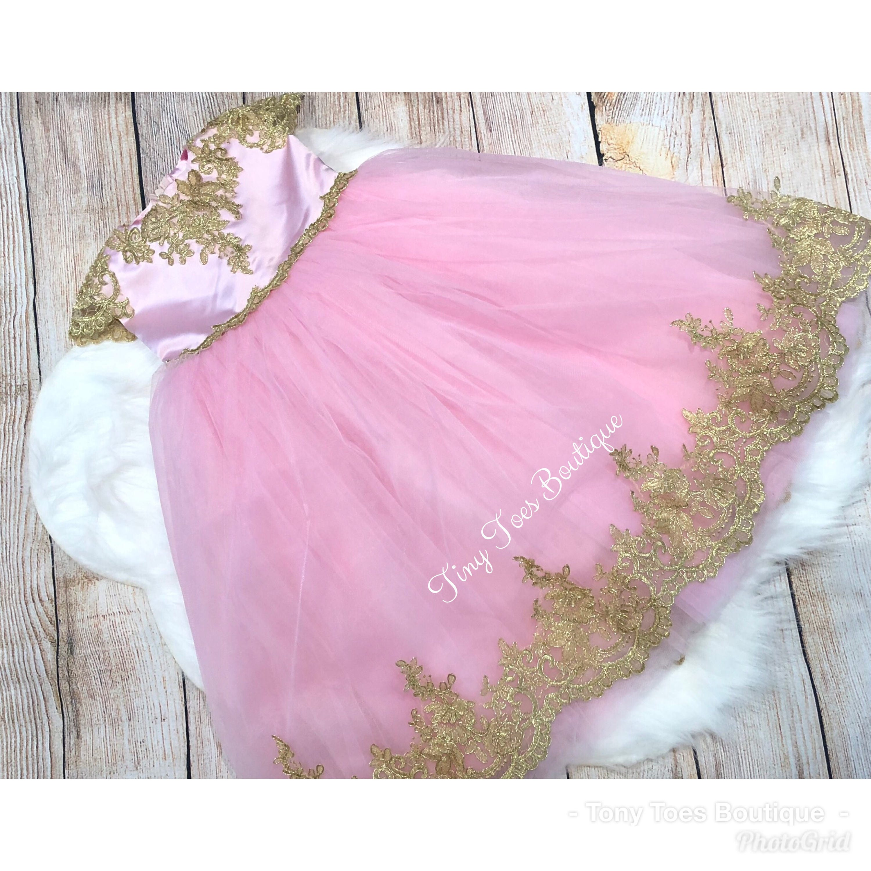 Pink And Gold Girls Birthday Flower Girl Dress Easter Dress