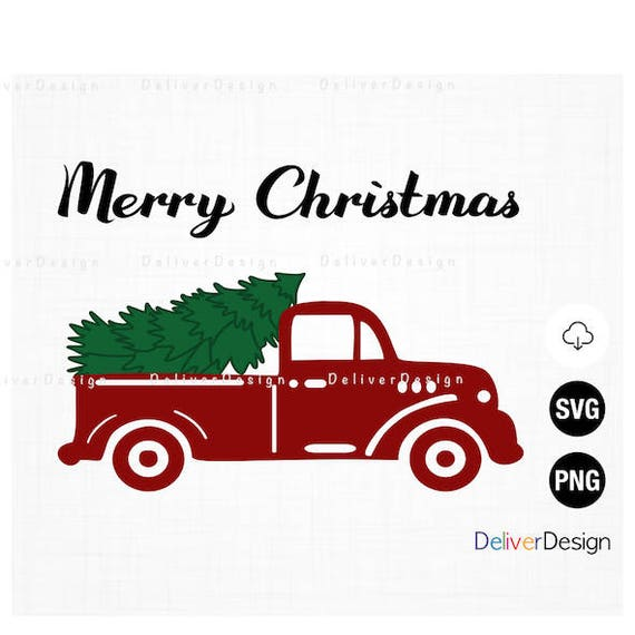 Christmas Truck Merry Vintage