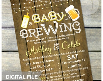 "A Baby is Brewing Invitation Beer Baby Shower Yellow Gender Neutral Co-ed Couples Party Rustic Wood Style DIGITAL Printable Invite - 5"" x 7"""