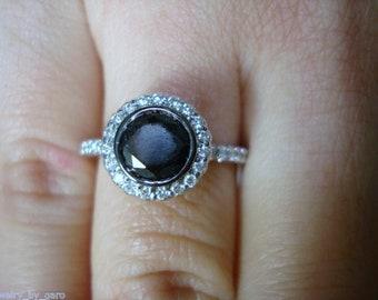 1.44 Carat Black & White Diamond Engagement Ring, Halo Engagement Ring, 14K White Gold Bezel and Micro Pave Set Handmade Unique