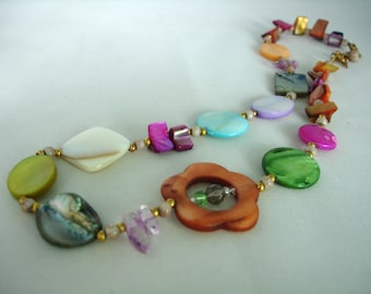 Mother of pearl necklace - Multicoloured - Multishaped - Flower - Discs, Nuggets - Summer Necklace