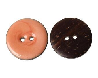 Beautiful orange enameled coconut button