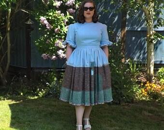Floral Dress, Hand Painted Dress, Gabardine Dress, Blue Dress, Vintage Style Dress, Secret Garden Dress, Gathered Dress, High Neck Dress