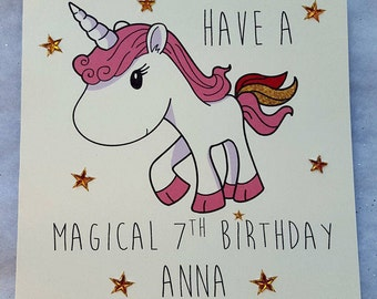 Personalised Handmade Daughter's Birthday Card- Any Age-Magical Unicorn