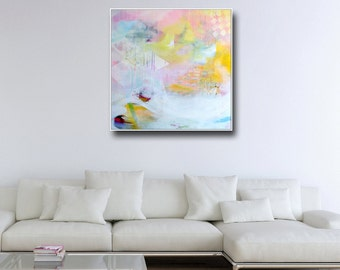 Large Wall Art, Abstract Canvas Print from Painting, Expressive Art, Modern Canvas Art, Colorful Painting Print, Blue Pink White Yellow Art
