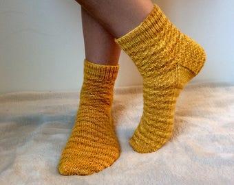 US woman's sizes 7, 8, 9. Euro sizes 37, 38, 39, 40. Hand Knit Yellow Socks.
