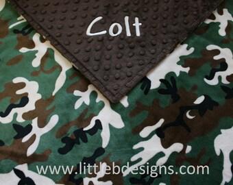 Personalized Minky Blanket - Camo Minky with Brown Minky Dot - Boy Baby Blanket