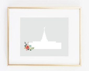 phoenix arizona lds temple floral 8x10 art print instant download