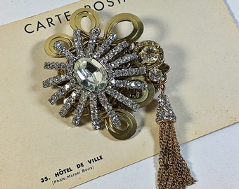 Upcycled vintage collage brooch bling rhinestone tassel loops spider