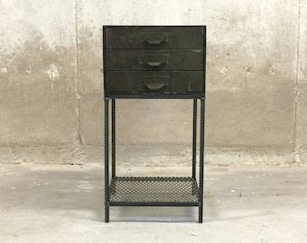 Industrial End Table Vintage Lyon Parts Drawer with ReBar Legs and Mesh Shelf