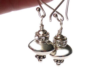 UFO Earrings Spaceship Sterling Silver