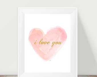 Blush Print, I love you, Girls Wall Art, Blush Nursery, 11x14, Blush and Gold Nursery Art, Blush and Gold Nursery Decor, Baby Girl Nursery,