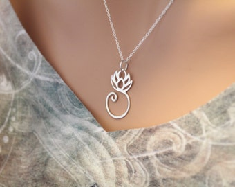 Sterling Silver Lotus Charm Necklace, Sterling Silver Lotus Charm, Lotus Necklace, Lotus Pendant Necklace, Style #A13