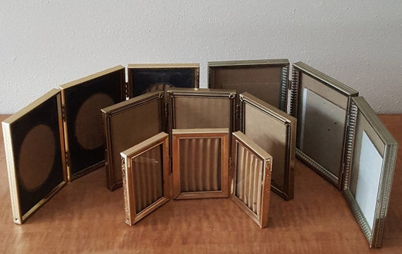 Triple Picture Frame~Triple Hinged Gold Metal Picture Frames~Sizes ...