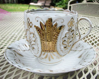 Vintage German Porcelain Cup and Saucer Gold and White