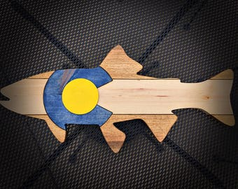 Colorado fish flag- Golden trout, fish art, wood flag, fishing, wood art, state flag