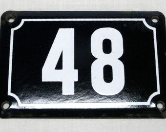 House Number Plate No. 48, Original Enamel French Blue and White, Old French House Number, Enamel House Number (340)