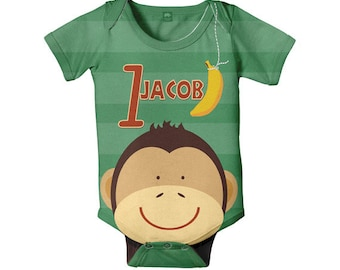 Boy's Monkey Bodysuit, Personalized Jungle Birthday, Baby One Piece Snapsuit, Onepiece Clothing