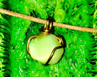 Iridescent Stone Necklace, Brass Wire Wrap Necklace