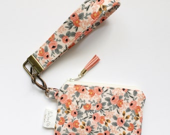 Keychain Pouch // Rosa in Peach by Rifle Paper Co