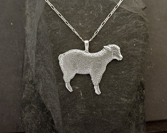 Sterling Silver Lamb Sheep Pendant on Sterling Silver Chain.