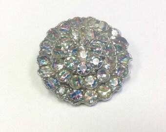 Vintage silver tone, Iris crystal, Rainbow crystal, rhinestone brooch. 1940s - 1950s pin.