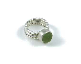 Chunky Sea glass Stacking Ring, Stacking Rings, Sea glass Ring, Handmade ring, Statement Ring, Silver stacking ring, Silver stacking rings.