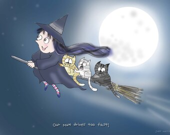 Moon, Witch Cats funny print, Halloween, magic gift, mad cat lady.