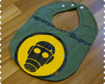 Gas Mask Baby Bib, Recycled T-Shirt Baby Bib, Funny Baby Bib, Baby Shower Gift, New Dad Gift