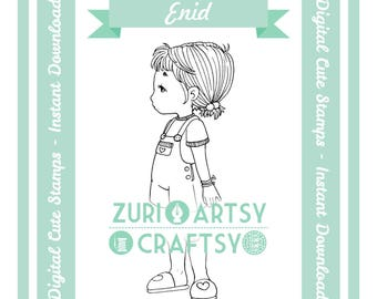 Digital Stamp, Enid, Scrapbooking Digital Stamp, Instant Download, Zuri Artsy Craftsy, Digi Stamp, Cardmaking, coloring page