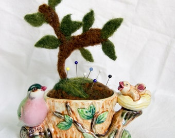 Vintage Ceramic Mama Bird with Nest and Babies in a Tree Planter with Needle Felted Pin Cushion.