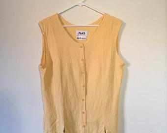 Vintage 90's Yellow Linen Top