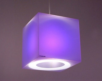 Purple & other cool colours | 175mm cube lampshade - Frost Perspex cube containing a blue, turquoise, orange, or pink coloured gel filter
