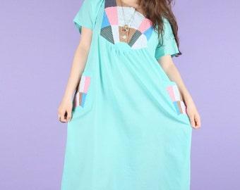 Aqua Patchwork Summer Smock Dress
