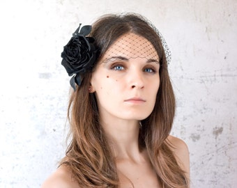 735_Black rose, Birdcage veil, Black birdcage hair accessories, 20s hair accessories, Black silk rose Birdcage veil flower, Retro wedding