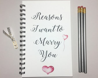 Reasons I Want to Marry You, Journal, Bullet Journal, Marry You, Marry Me, Girlfriend Gift, Boyfriend Gift, Engagement Gift, Fiance Gift