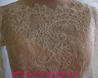 Wedding bolero, top, jacket of lace,  sleeves, alencon . Romance,bridal unique bolero NANCY