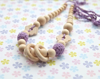 Lavender flower nursing rings necklace. Girls crochet necklace. Mammy and baby teething necklace.
