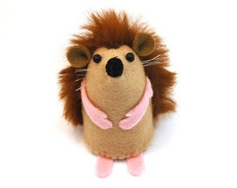 Toy Hedgehog - collectable art artists hedgehog cute felt soft sculpture toy woodland creature stuffed plush doll ornament for collector