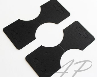 50 pcs of Blank Necklace Ponytail Holder Earrings Display Card in Black for for Accessories and Jewelry