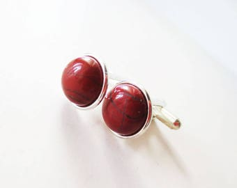 Jasper cuff links. Stone cuff links. Red cuff links.  Silver cuff links. 12mm cuff links. Red stone cuff links. Rugged cuff links.